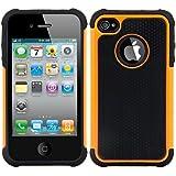 kwmobile ハイブリッドケース Apple iPhone 4 / 4S用 オレンジ 黒色。TPUインナーケース、ハードケース 縁取り加工!アウトドア向けやトップファッションファンなら見逃せない