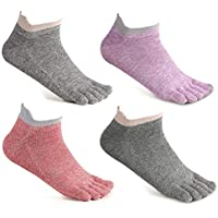 Toe Socks No Show Cotton Low Cut Five Finger Socks Athletic for Women by Meaiguo