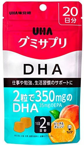UHAグミサプリ DHA ピーチ&オレンジ味 スタンドパウチ 40粒 20日分