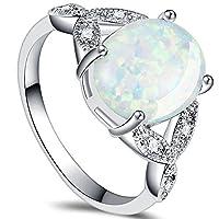 Jude Jewelers ロジウムメッキ ファイヤーオパール ウェディングエンゲージメントリング サイズ4〜12 シルバー
