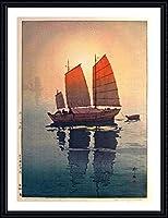 "Alonlineアート–Sailing Boats Hiroshi吉田Framedのコットンキャンバスホーム装飾壁アート博物館品質フレームをハングアップする準備フレーム 21""x28"" - 53x71cm (Framed Cotton Canvas) VF-YSD101-FCC0F11-1P1A-21-28"