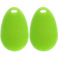 BESTOMZ 多機能キッチンブラシ キッチンツール 抗菌タイプ 耐熱シリコン 楕円  2個セット(グラスグリーン)