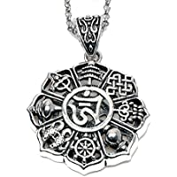 Paw Paw House Om Lotus Mandala Medallion Pendant Necklace Tibetan Buddhist 8 Symbol Meditation Yoga Inspired Bohemian