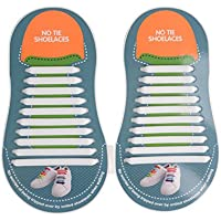 Majilo No Tie Silicone Shoelaces for Unisex Adults & Kids Fashion Waterproof Elastic Flat Athletic Running Tieless Lazy Shoe Laces with Multicolor for Sneakers Board Shoes Boots, Casual Shoes and Sports Shoes,20slips for adults & 12slips for kids