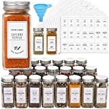 24 Pcs Glass Spice Jars with White Printed Spice Labels - 4oz Empty Square Spice Bottles - Shaker Lids and Airtight Metal Cap