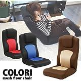 無段階リクライニング座椅子 腰痛解消ローソファー ランバーサポート座いす (ブラック&ブルー)