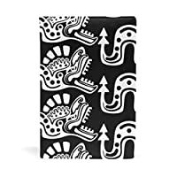 ブックカバー 文庫 A5に対応 おしゃれ 伝統的なアステカドラゴン部族柄 文庫本カバー 本革 PU レザー製 読書 資料 収納入れ [並行輸入品]
