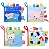 Adpartner Cloth Book for Baby, 4-Pack Soft Activity Crinkle Fabric Books for Infants Early Education, Baby's First Book Non-Toxic Early Learning Toy for 1 Year Old Toddlers Kids