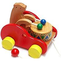 careshine Bearドラムおもちゃクリエイティブ教育ソリッドBeech Wood Pull Toys withサウンドfor Kids