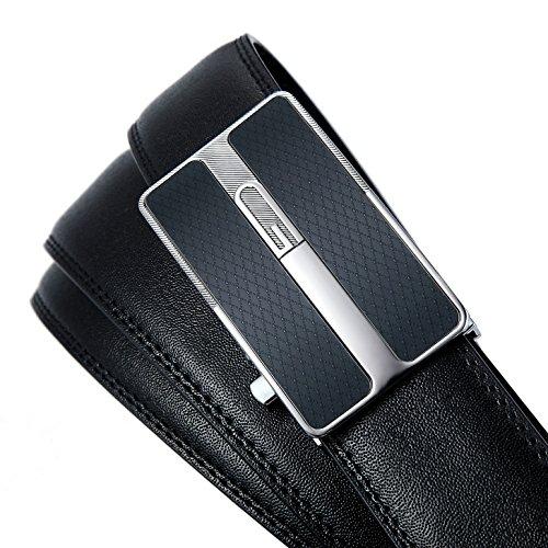 Guzarap メンズ ベルト 本革 自動ロック サイズ調整可能 レザー カジュアル ビジネス(シルバー)