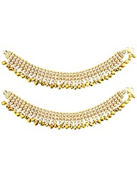 Mehrunnisa Traditional (Set of 2) Brown Crystals & Pearls Payal/Anklets with Ghungroo (JWL1804)