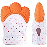 MyBabyLove Teething Mitten、ベビー歯ブラシ手袋、自己癒しのTeether&赤ちゃん100%の食品グレードBPAフリー - 年齢3-12月(オレンジ)のためのぬいぐるみの救済玩具