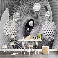 ウォールステッカー壁画壁壁画不織布ロール紙3Dステレオスペースまんじボールリビングルームテレビの背景壁画パペルデパレデ-250x350cm