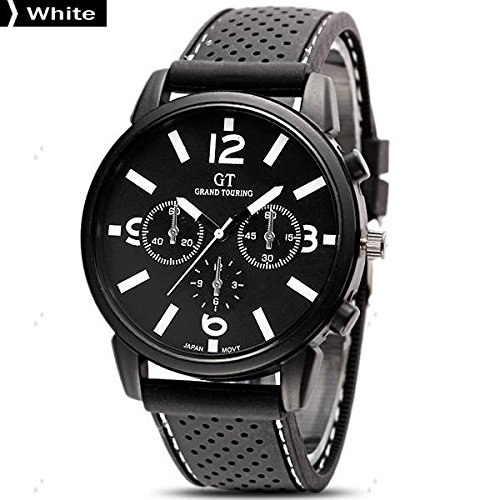 GT Fashion Hot New Big Case Fashion Business Men Boy Fashion Army Sport Silicone Rubber Quartz Wrist Watch ( White Color only )