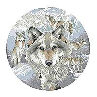 chiwanji 初心者向け クロスステッチキット 刺繍 印刷パターン 手作り 工芸品 オオカミ柄 全2種 - 14CT 38 x 38cm