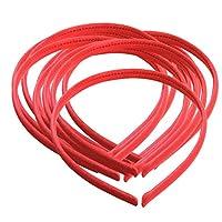 Perfk 10本入り ヘッドバンド バンド作り 女の子 レース/サテン素材付け DIY基本ベース ヘア飾り 全10色選べ - 赤
