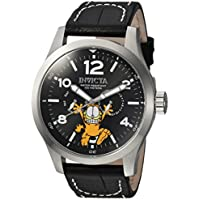Invicta Men's Character Collection Stainless Steel Quartz Watch with Leather Calfskin Strap, Black, 24 (Model: 24883)