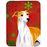 Carolines Treasures LH9328LCB Whippet Red And Green Snowflakes Holiday Christmas Glass Cutting Board, Large