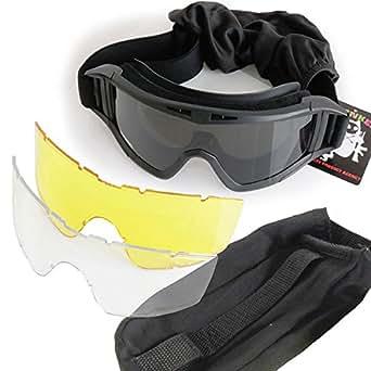 SHENKEL X800ゴーグル 警察SWAT軍隊 X800タイプ レンズ3枚付き glass-001