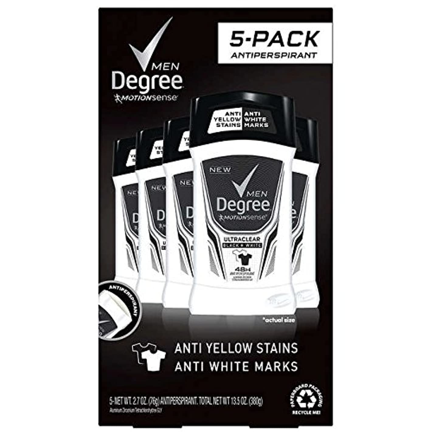 Degree Men Ultra Clear Black + White Solid Deodorant 2.7oz (76g), 5-pack [並行輸入品]