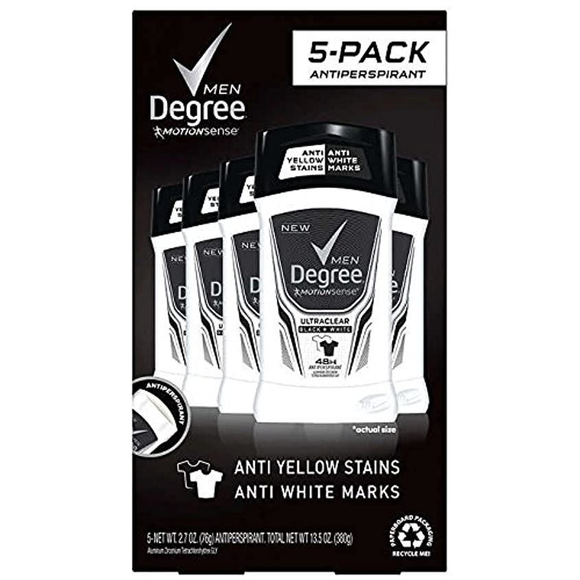 修復ローブ絶滅したDegree Men Ultra Clear Black + White Solid Deodorant 2.7oz (76g), 5-pack [並行輸入品]