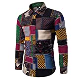 Leapparel 長袖シャツ メンズ 花柄 プリント 和柄 軽い 動きやすい アメカジ カジュアル プリント