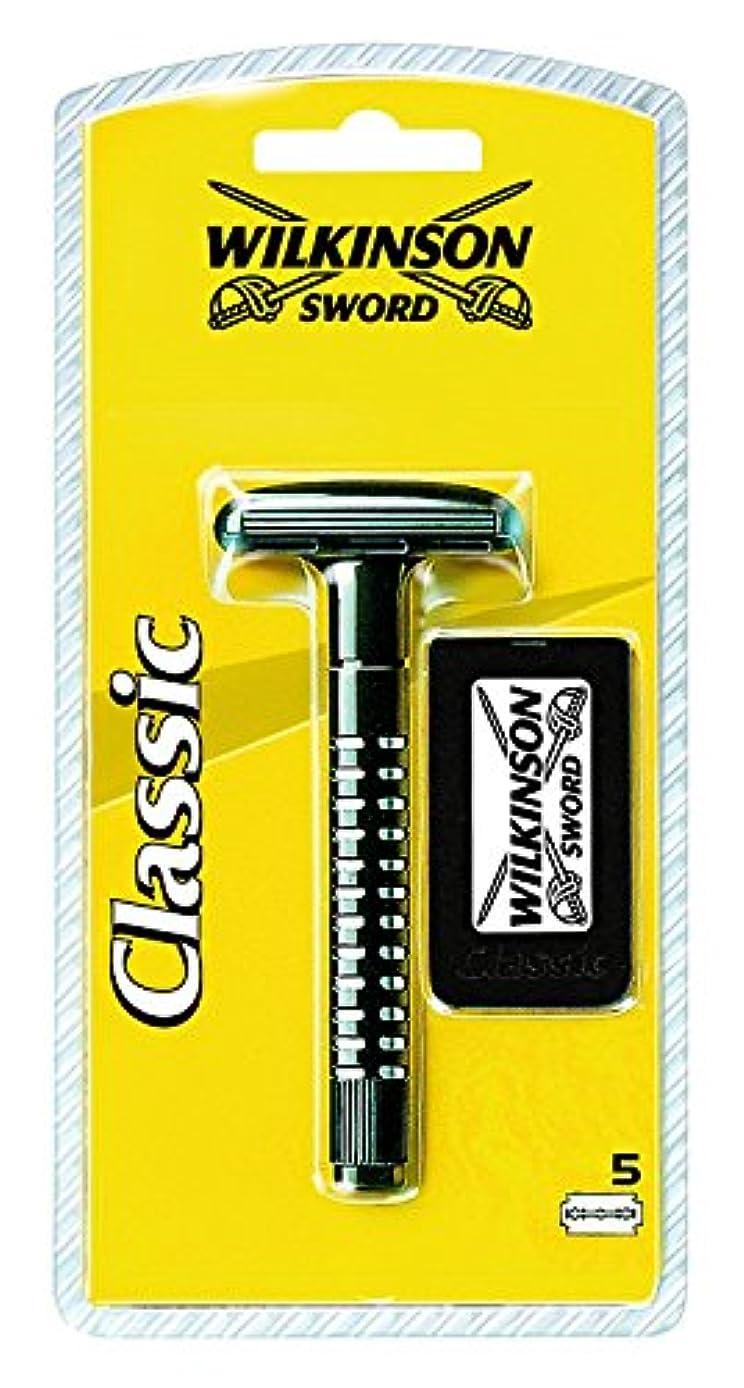 スタイル拾う性差別Wilkinson Sword (ウィルキンソン ソード) クラシック両刃ホルダー ブレード5枚付き [並行輸入品]