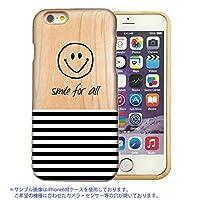 301-sanmaruichi- iPhone8Plus ケース 木製 木製ケース ウッド 天然木 木目 スマイル ニコちゃん smile にこちゃん ボーダー ストライプ B