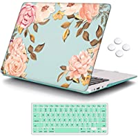 "iCasso MacBook Case Green Watercolor Rose New MacBook Air 13"" Model A1932 (2018 Release)"