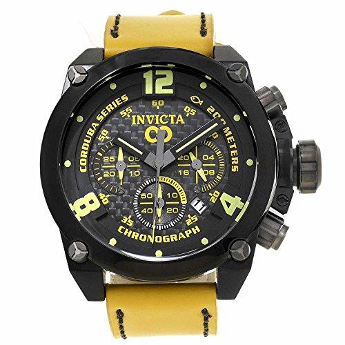 [インヴィクタ]Invicta 腕時計 Corduba Chronograph Black Carbon Fiber Dial Yellow Leather Watch 18934 メンズ [並行輸入品]