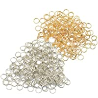 BAOBLADE 400 Pieces Split Double Key Rings Jewelry Findings 6mm Gold + Silver