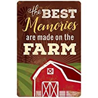 The Best Memories Are Made On Theファーム12 x 8メタルTin Wall Sign Plaque