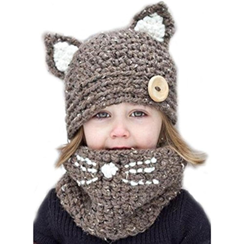 EUBUY冬暖かいかわいい動物ニットフードスカーフ猫パターンニットウールショールスカーフ帽子ハットキャップスキーハットBeanie Hat with Ear