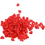 Perfk 1000枚 花びら 造花 フラワー ハート型 紙吹雪 装飾 可愛い ロマンチック 5色選択  - 赤