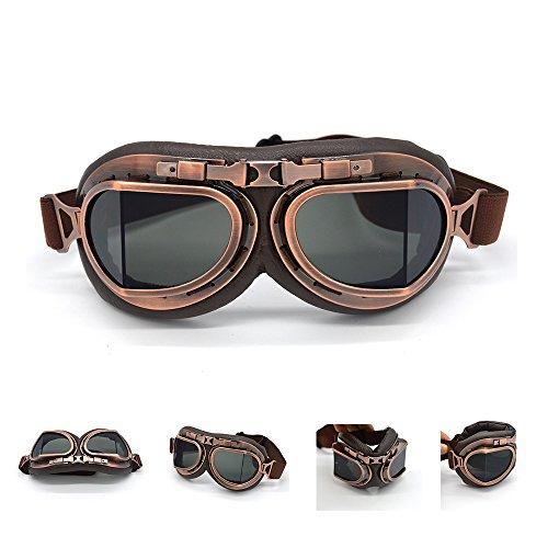 evomosa ヴィンテージレトロ オートバイ サイクリング スポーツゴーグル メガネ ヘルメット眼鏡 PCレンズ UVカット 多目的利用 保護メガネ パンクゴーグル(スモーク)