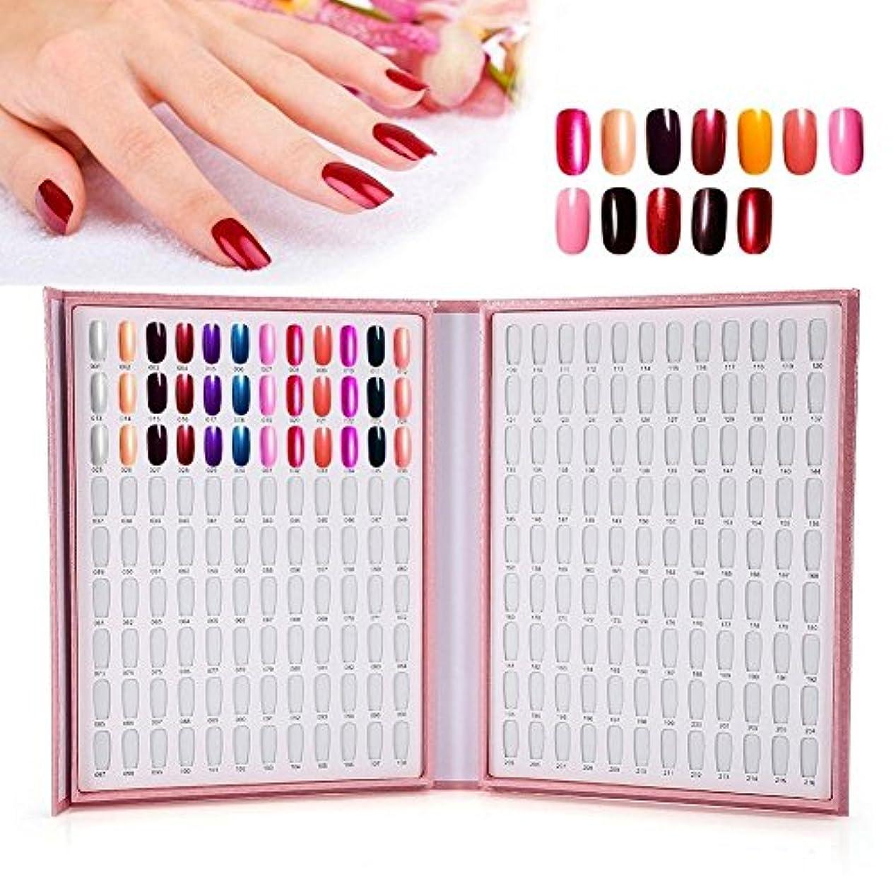 最大化するフリル定規カラーチャート ブック - Delaman ジェルネイル、カラーガイド、サンプル帳、216色 (ピンク)