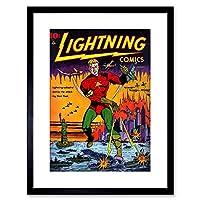 Comic Super Hero Cover Lightning Comic Vintage Framed Wall Art Print