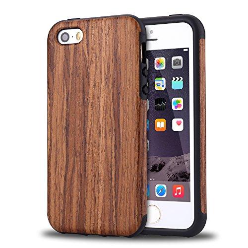 TENDLIN iPhone SE ケース 自然木製柔軟TPUシリコン配合保護ケース(紫檀)