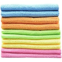 SINLAND 多目的 家庭 用 吸水 速乾 マイクロ ファイバー クリーニング タオル 洗車 キッチン ふきん 掃除 タオル 雑巾 (10枚, 30cmx30cm)