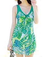 WantDoレディース 水着 体型カバー シンプル 可愛いセクシー花柄 パンツ付き 大きいサイズ ワンピース水着