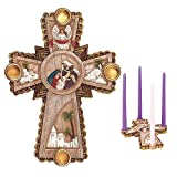 聖家族と天使の十字架 7 x 10.5 樹脂ストーン クリスマス キリスト降誕 アドベントキャンドルホルダー