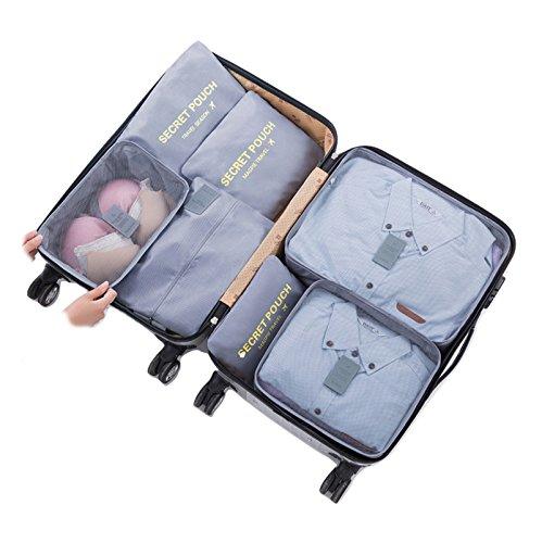 アレンジケース トラベル ポーチ 7点 セット 防水 大容量 収納 衣類 靴 小物 整理 旅行 出張 オーガナイザー (グレー)