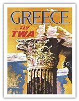 ギリシャ - TWA (トランス・ワールド航空)で飛ぶ - コリント式スタイルギリシャコラム - ビンテージな航空会社のポスター によって作成された デイヴィッド・クライン c.1959 - アートポスター - 51cm x 66cm