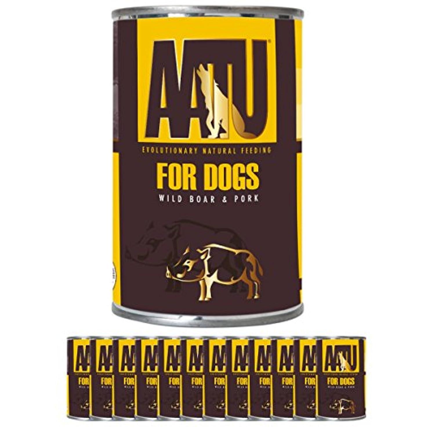 慈悲見えるスーダン【まとめ買い】AATU 犬用ポーク&ワイルドボア400g×12缶 ウェットフード 缶詰