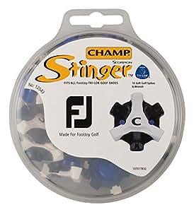 CHAMP(チャンプ) ゴルフシューズ靴鋲 スティンガー3 FJ(フットジョイ) (T-LOK)(ティーロック) 18P  S-76 黒/白