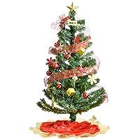 タンスのゲン クリスマスツリー セット 90cm オーナメント 10種 LED 8パターン イルミネーション付き レッド 16910001 01