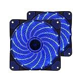 超静音PCケースファン 2個セット 120mm 青いLEDを装着した ラジエーターファン 12cm 25mm厚 12v (ブルー)