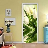 インテリアドアのための3Dドアステッカー自己接着ビニール壁画チューリップの花の写真ウォールアートステッカー寝室用リビングルームオフィスバスルームの壁紙77 x 200 CM