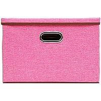 リネン生地折りたたみ式ストレージキューブBinボックスコンテナ蓋Drawers L( 17.7 x 11.8 x 11.8 inches) ピンク BIS080901