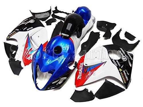 Sportfairings バイク 外装パーツセット 適合 鈴木 Suzuki GSX-R1300 GSX-R GSXR 1300 隼 2008/2009/2010/2012/2013/2014/2015 年 青白赤 フェアリング